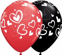 Mix & Match Hearts (Red & Black) - 11 Inch Balloons 25pcs